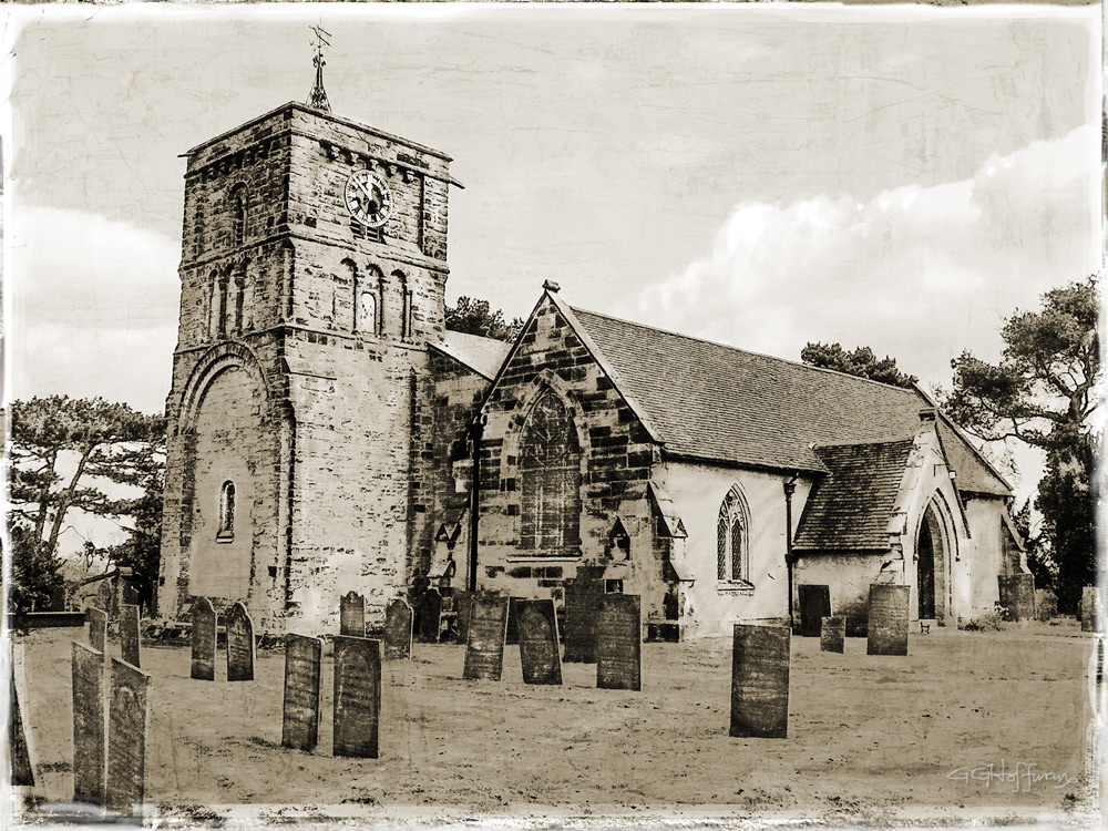 This UK church was a project posted by my Digital Nuts group. I used Photoshop CC with multiple adjustment layers over a canvas/grunge background.
