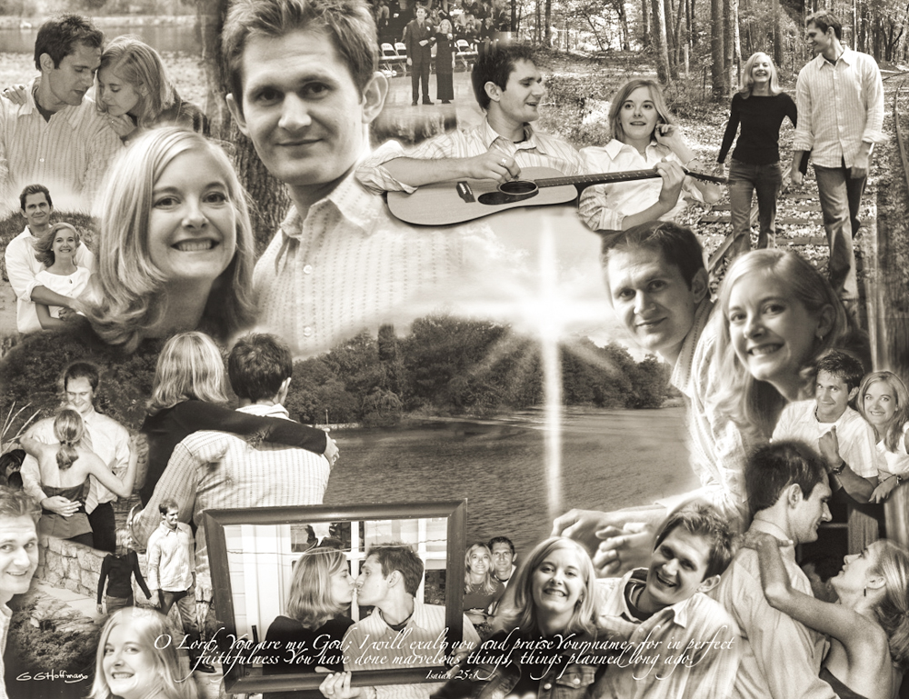 A Photoshop CS montage I did for Christy and Justin when the got married.