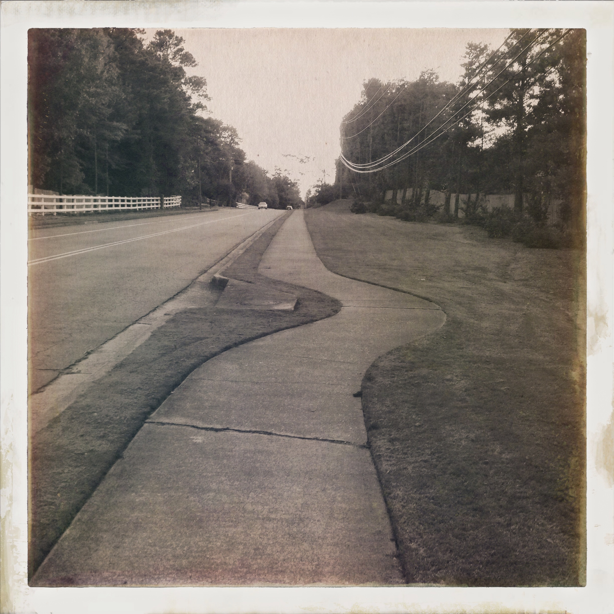 This is a route I take almost daily on my walk with Minnie. This is the Hipstamatic Diego Lens and Uchitel 20 film. (iPhone)