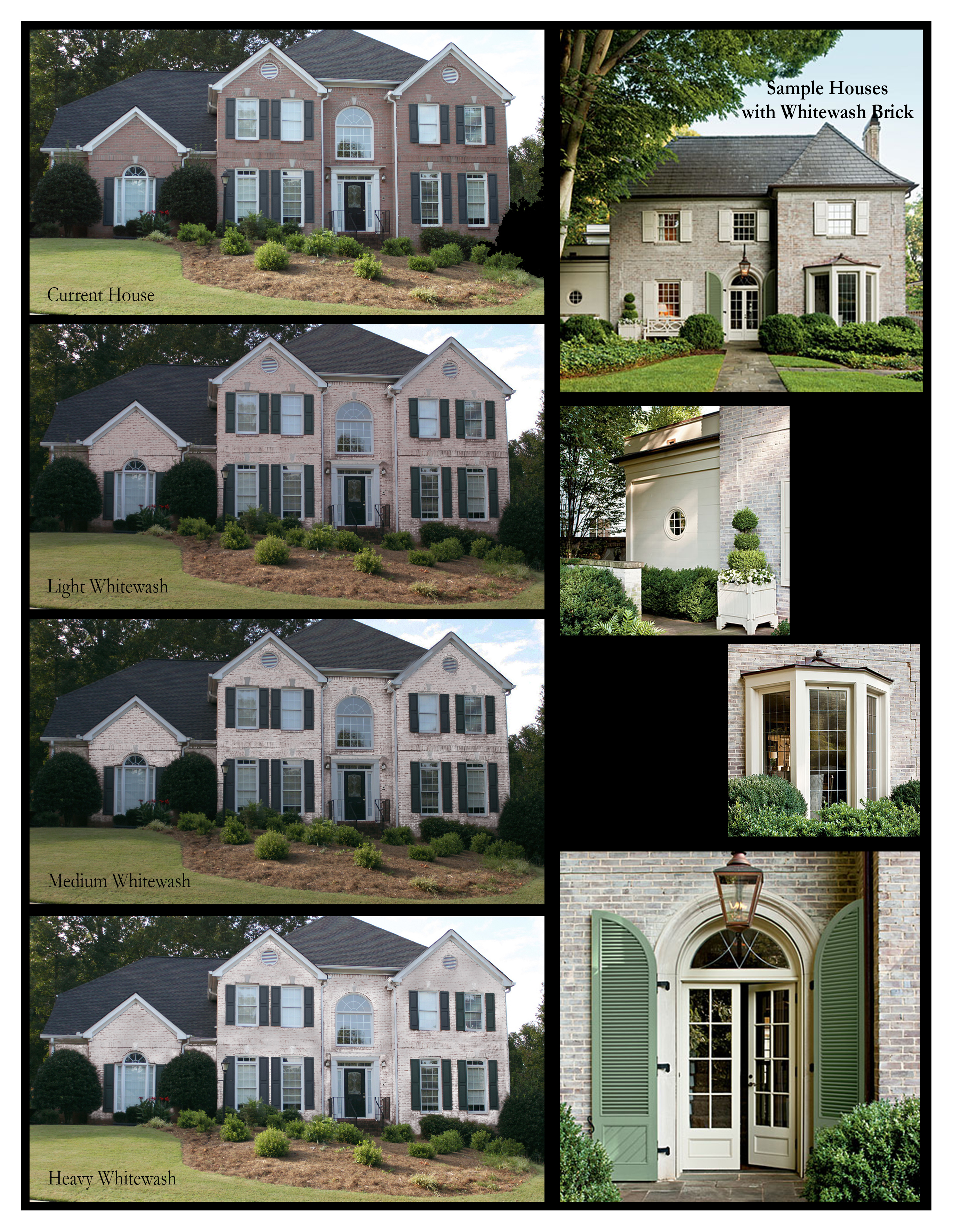 "I was asked by a client to show what different levels of whitewash might look on his house. A bit of research and I came up with this comparison board. The houses and views on the right are existing houses with different whitewash treatments.  I used Photoshop CC (2014) to create a ""paint layer in white"" over the bricks and then varied the transparency of the layer to simulate whitewash in varying degrees of opacity."